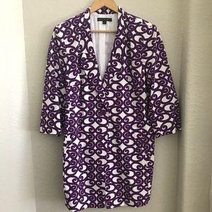 Lafayette 148 Lined 3/4 Sleeve Coat Purple Swirl